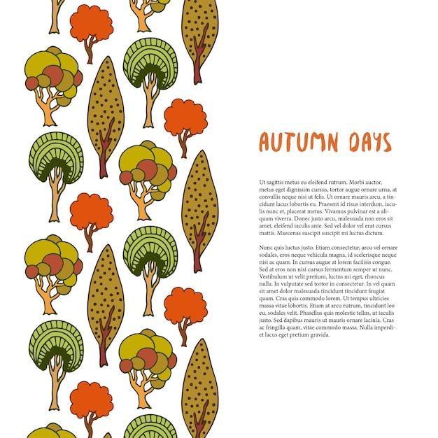 Doodle Granicy Drzew Jesienią. Ręcznie Rysowane Szablon. Baner Lub Plakat, Broszura, Projekt Premium Wektorów