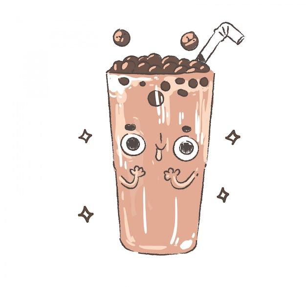 Doodle Herbata Perłowa Mleko. Perłowa Herbata Mleczna Premium Wektorów