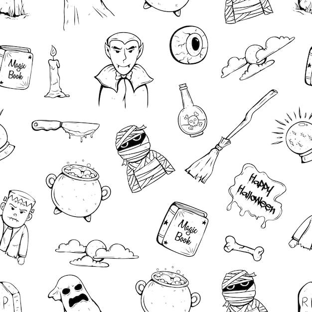 Doodle ikony halloween w szwu z charakterem i atrybutem halloween Premium Wektorów