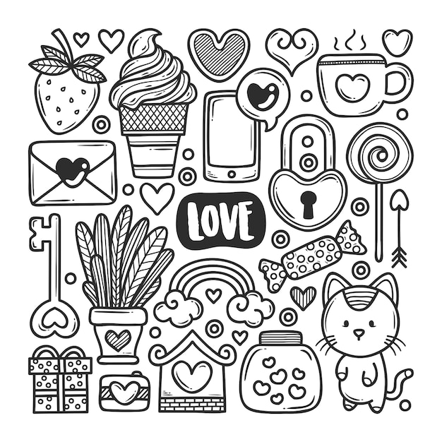 Doodle Ikony Ręcznie Rysowane Doodle Kolorowanki Premium Wektorów