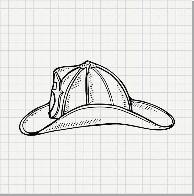 Doodle Ilustrację Strażaka Hełm Premium Wektorów