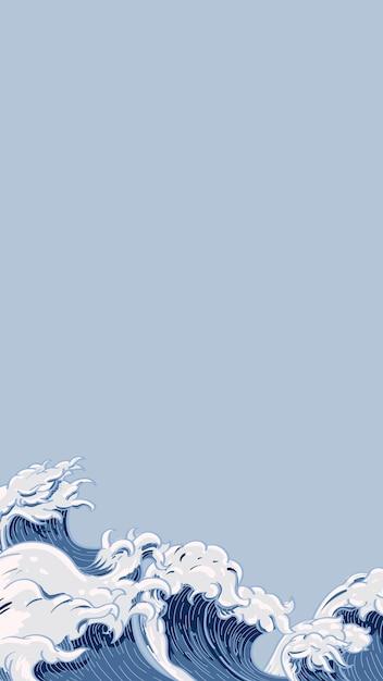Doodle japońska fala Darmowych Wektorów