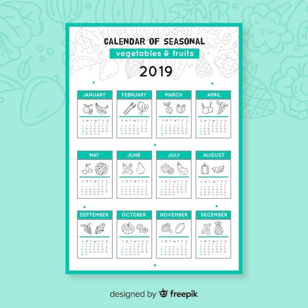 Doodle kalendarz sezonowych warzyw i owoców Darmowych Wektorów