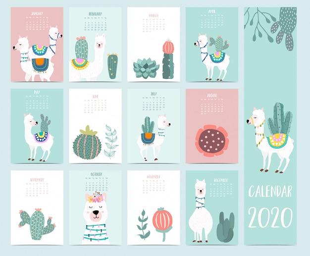 Doodle Kalendarz Zwierząt 2020 Premium Wektorów