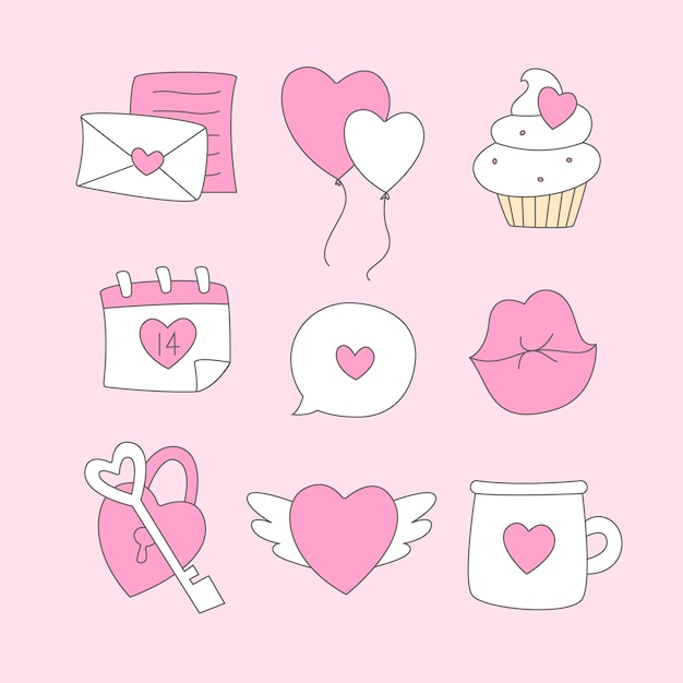 Doodle Kolekcja Elementów Walentynki Darmowych Wektorów