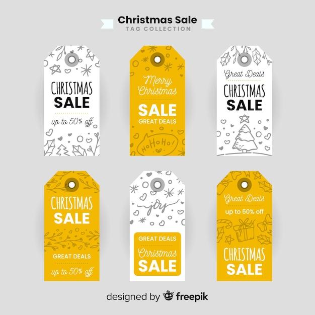 Doodle kolekcja etykiet świątecznej sprzedaży Darmowych Wektorów