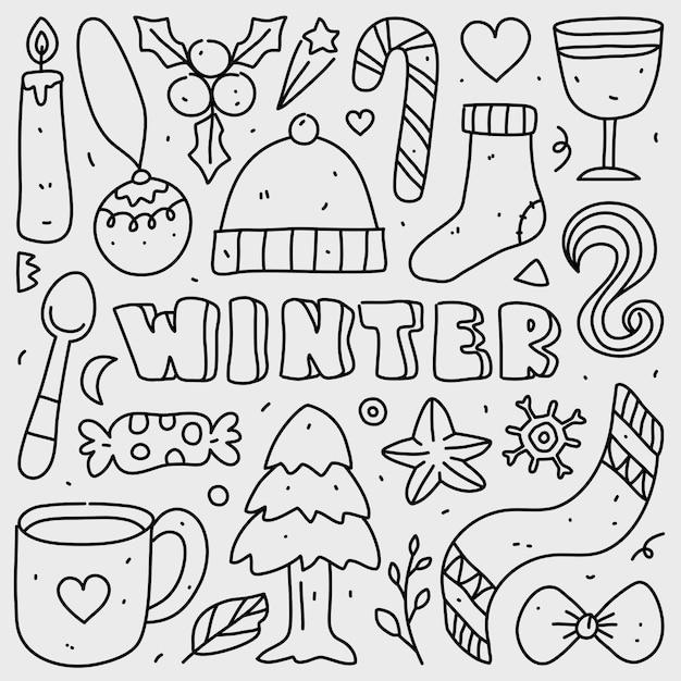Doodle Kolekcja Zestaw świąteczny Element Na Na Białym Tle Premium Wektorów