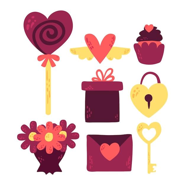 Doodle Kolekcji Elementów Walentynki Darmowych Wektorów