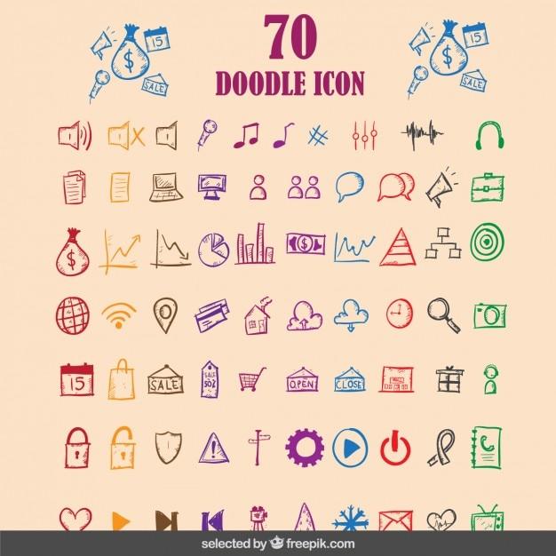 Doodle Kolorowe Ikony Kolekcji Darmowych Wektorów
