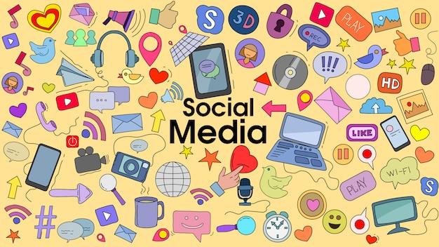Doodle Kreskówka Zestaw Motywu Mediów Społecznościowych Premium Wektorów