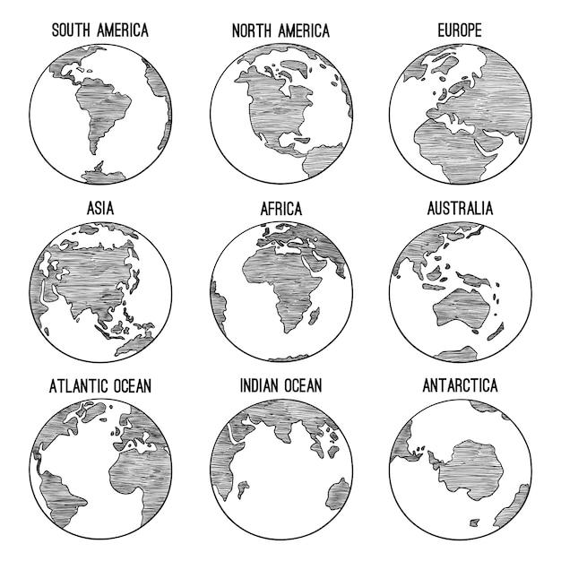 Doodle Kuli Ziemskiej. Planeta Naszkicowana Mapa Ameryka Indie Afryka Kontynenty Ręcznie Rysowane Ilustracje. Globe świat Ziemia, Ameryka, Afryka, Kontynent Na Całym świecie Premium Wektorów