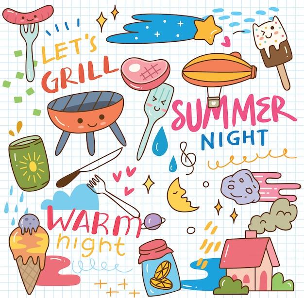 Doodle lato kawaii Premium Wektorów