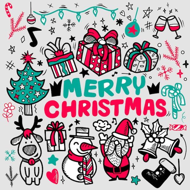 Doodle Merry Christmas życzeniami, Odręczne świąteczne Gryzmoły Konspektu Premium Wektorów