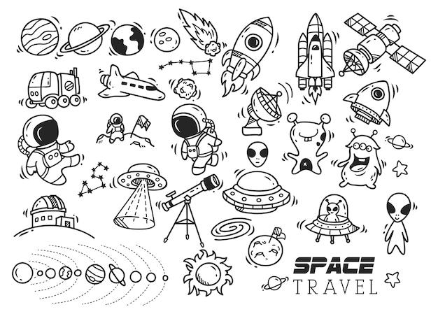 Doodle O Tematyce Kosmicznej Premium Wektorów