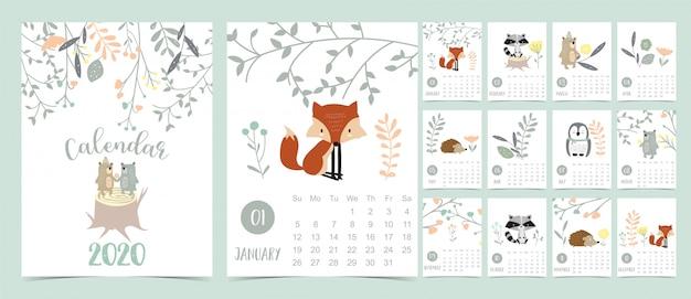 Doodle pastelowy kalendarz leśny zestaw 2020 z lisem Premium Wektorów