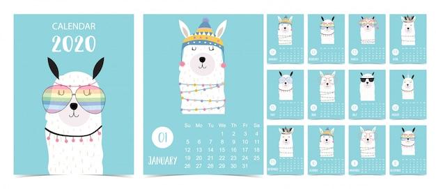 Doodle Pastelowy Zestaw Kalendarza 2020 Z Lamą Dla Dzieci Premium Wektorów