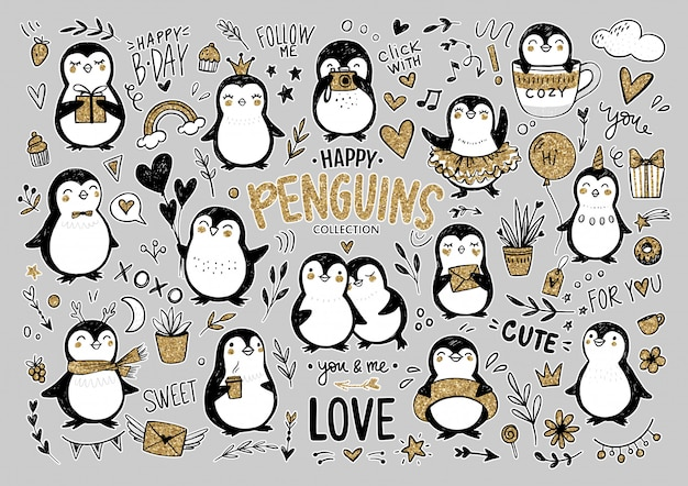 Doodle Pingwiny, Ręcznie Rysowane Zestaw Zabawnych Zwierząt. Postać Pingwina W Stylu Szkicu. Premium Wektorów
