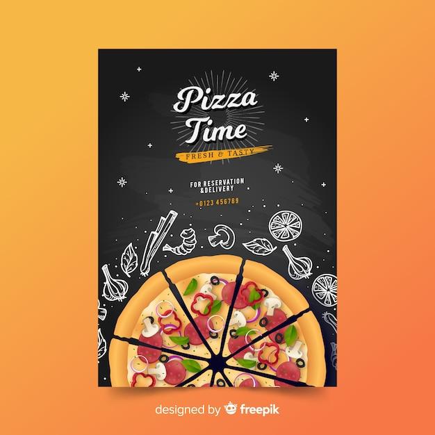 Doodle plakat pizza szablon Darmowych Wektorów