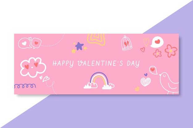 Doodle, Przypominająca Dzieci, Walentynkową Okładkę Na Facebooku Darmowych Wektorów