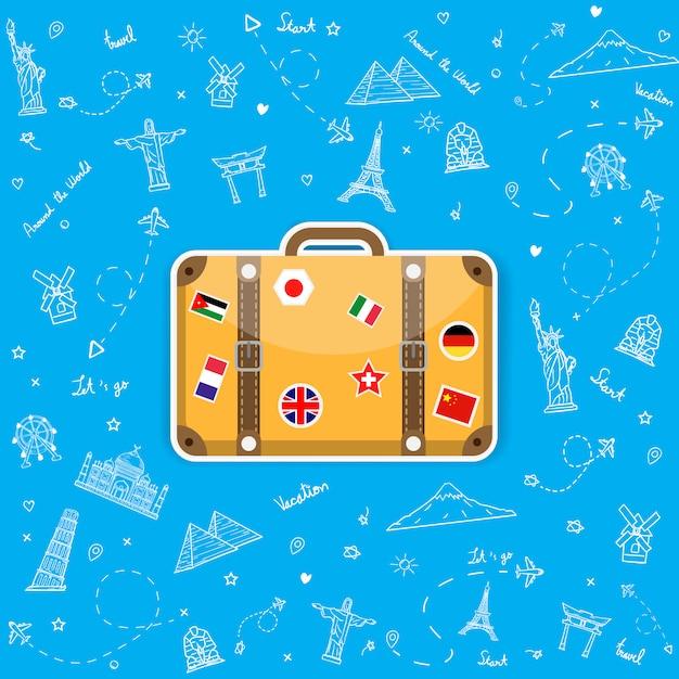 Doodle Ręcznie Rysować Bagaż Za Pomocą Naklejek Flagi Narodowej Premium Wektorów
