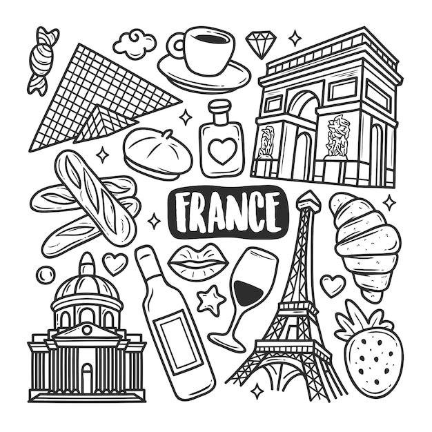 Doodle Ręcznie Rysowane Ikony Francji Kolorowanki Darmowych Wektorów