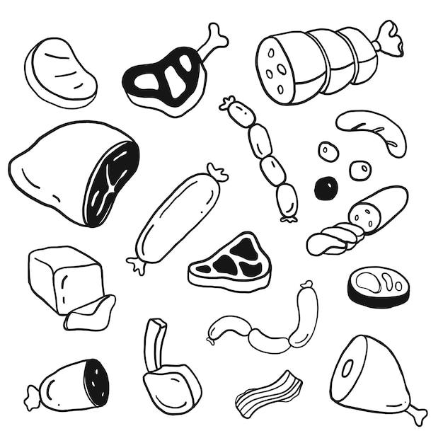 Doodle ręcznie rysowane mięso zestaw Premium Wektorów