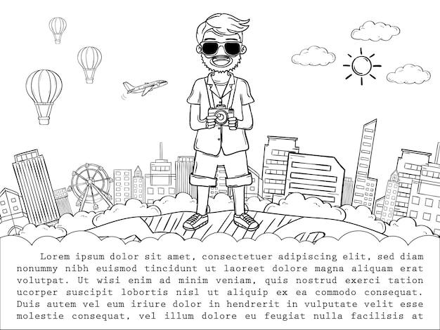 Doodle Ręka Rysować Mężczyzna śliczny Kreskówka Podróżnik, Podróżuje Dookoła świata Pojęcie. Wyciągnięcie Ręki, Premium Wektorów