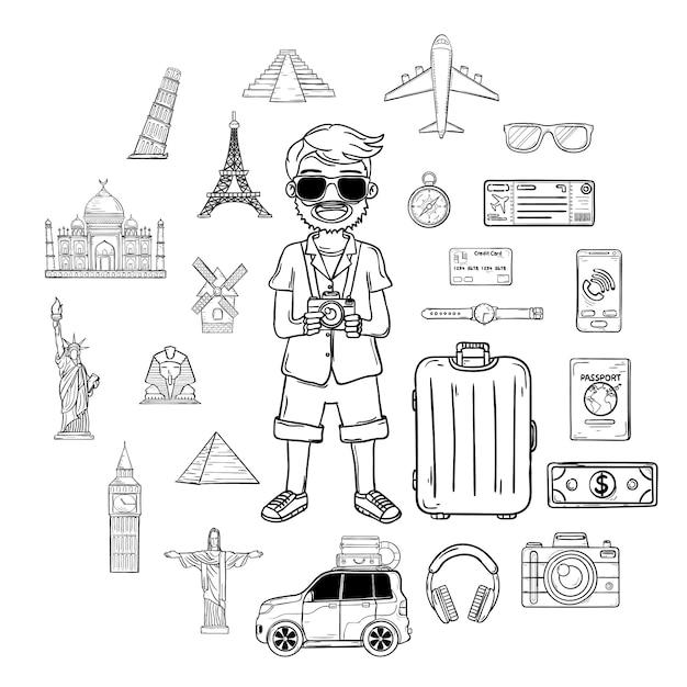 Doodle Ręki Remisu Mężczyzna Podróżnik Z Bagażem. Akcesoria Podróżne Na Całym świecie. Premium Wektorów