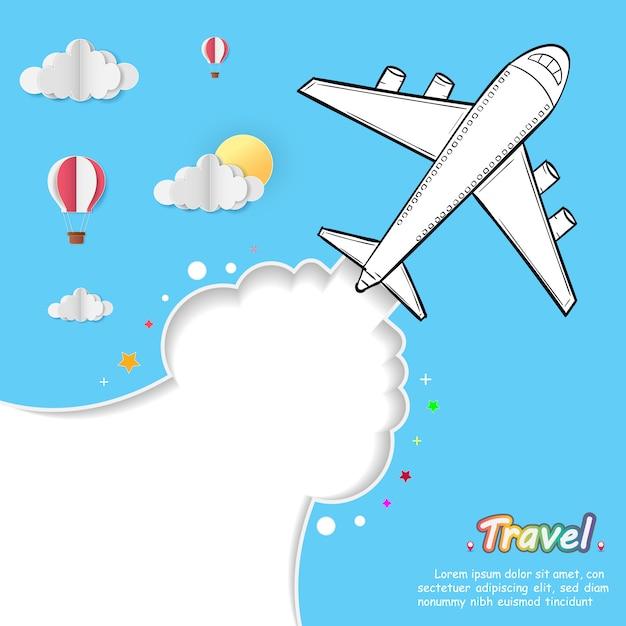 Doodle Samolot Na Całym świecie Koncepcja Lato Samolot Anteny. Premium Wektorów