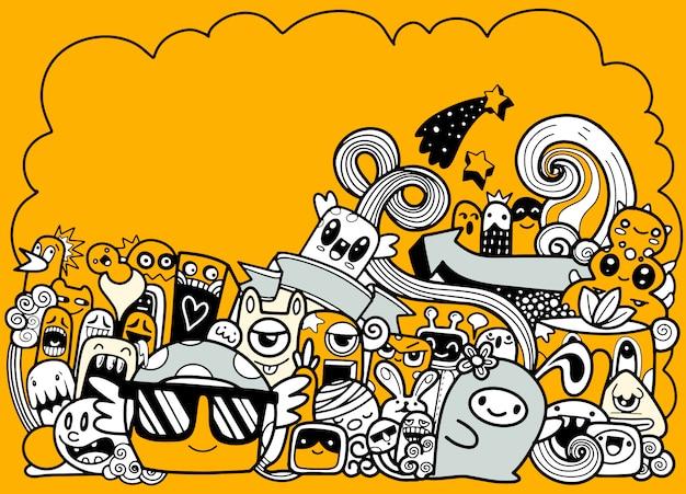 Doodle ślicznego Potwora Z Copyspace Tłem, Ręka Rysunku Doodle Premium Wektorów