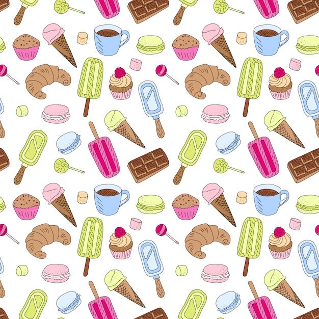 Doodle Słodycze Jedzenie Wzór. Kontur Kreskówka, Rysowane Tekstury Z Kolorowym Deserem. Babeczka Muffin, Lody I Cukierki Czekoladowe Premium Wektorów