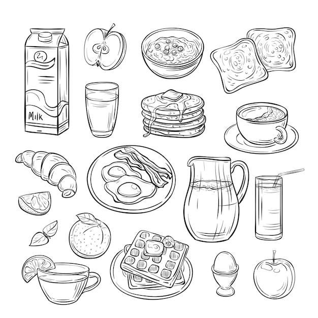 Doodle śniadanie. Chleb Kanapkowy Tostowy Masło Jajeczne, Poranna Kawa I Ser Szkic Zdrowego Jedzenia Sztuka Wektor Zestaw Premium Wektorów