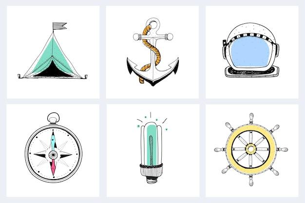 Doodle Sprzętu Morskiego Explorer Darmowych Wektorów