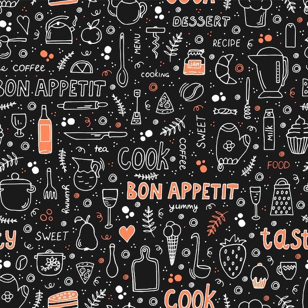 Doodle stylową ilustrację z jedzeniem i naczyniem do gotowania. bezszwowy wzór z różnymi symbolami. Premium Wektorów
