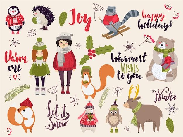 Doodle świąteczne stworzenia, urocze zwierzęta i ludzi w sukience zimowej, ilustracja Premium Wektorów