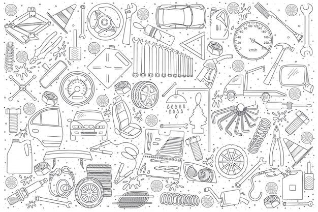 Doodle Szczegóły Usługi Samochodowe Premium Wektorów