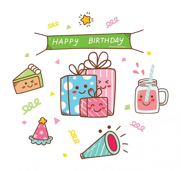 Doodle urodzinowy w stylu kawaii Premium Wektorów