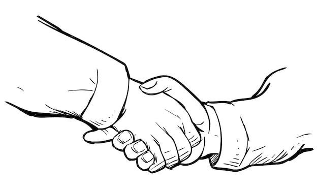 Doodle Uścisk Dłoni Premium Wektorów