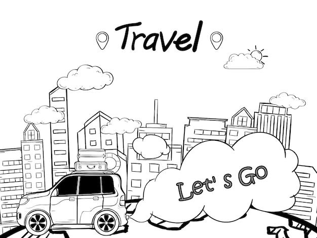 Doodle wyciągnąć rękę samochód z punktu kontrolnego w podróży po mieście na całym świecie Premium Wektorów