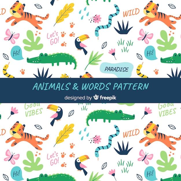 Doodle wzór zwierząt i słów Darmowych Wektorów