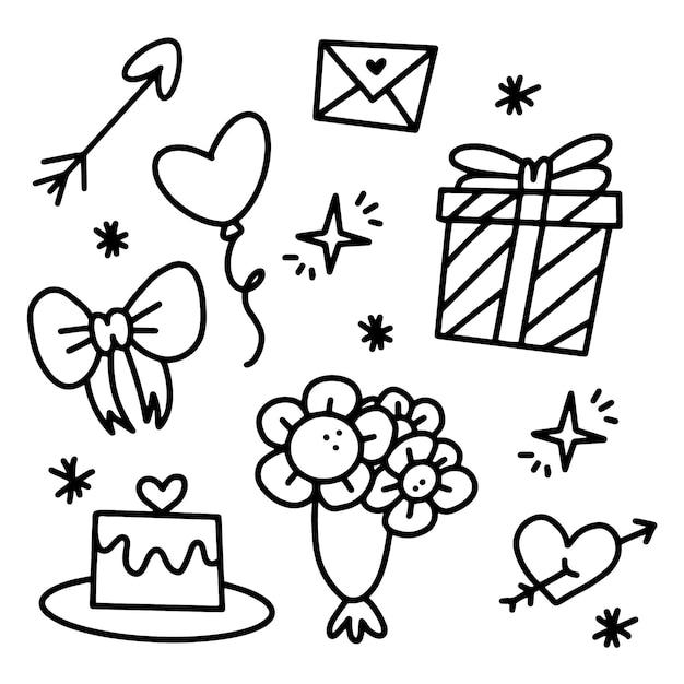 Doodle Zestaw Elementów Walentynki Darmowych Wektorów