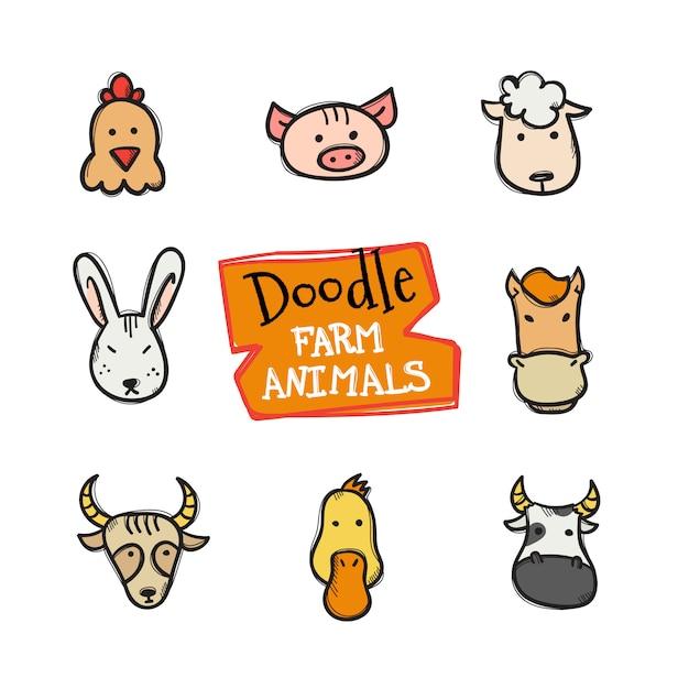 Doodle zestaw ikon zwierząt hodowlanych stylu. ładna ręcznie rysowane kolekcja głów zwierząt Premium Wektorów