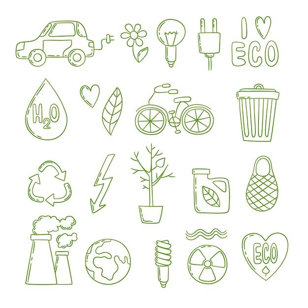 Doodle Zielonej Energii. Czyste środowisko Globalna Elektrownia Wzrost Co2 Ekologiczny Czysty Szkic. Ilustracja Eko środowiska, Ochrony I Oszczędzania Energii Premium Wektorów