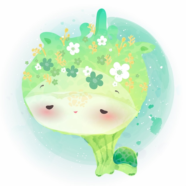 Doodle żółw Malarstwo Akwarela W Kwiatowy. Premium Wektorów