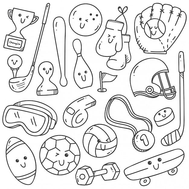 Doodles Na Sprzęt Sportowy W Stylu Linii Kawaii Premium Wektorów