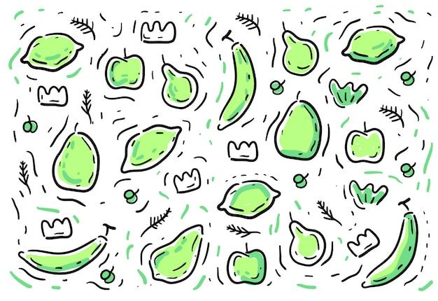 Doodles styl owocowy ppattern Premium Wektorów