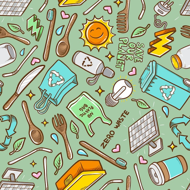 Doodles Zero Odpadów Ręcznie Rysowane Tło Wzór Premium Wektorów