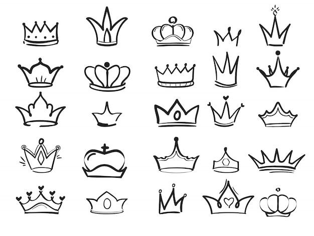 Doodling Crown. Atrament Ręcznie Rysowane Symbole Króla Eleganckiego Imperialnego Monarchy Wektorowej Sztuki Tuszu Premium Wektorów