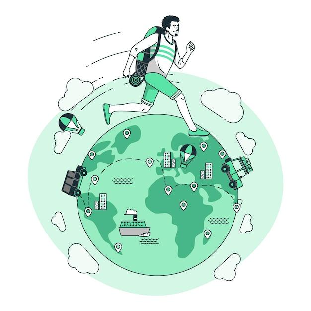 Dookoła świata Ilustracja Koncepcja Darmowych Wektorów