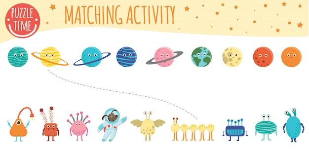 Dopasowywanie Aktywności Dzieci Do Planet, Kosmitów I Astronautów. Temat Kosmiczny. Słodkie śmieszne Uśmiechnięte Postacie. Premium Wektorów